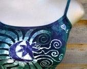 Batik Stretchy Handmade Yoga Tanktop in Teal and Purple