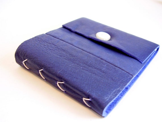 Chevron Book: Hand Bound Leather Notebook in Deep Purple