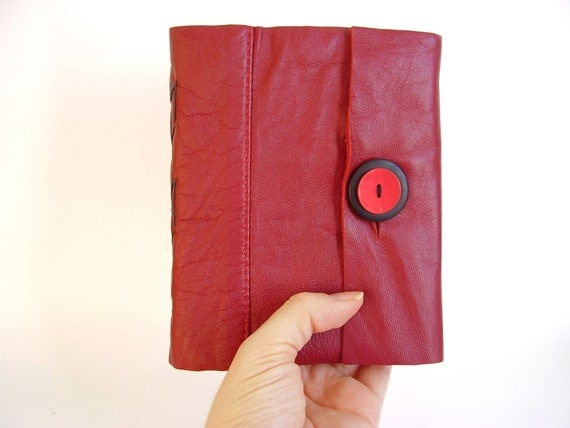 Deep Red Leather Hand Bound Journal, Spine Stitched, Reclaimed Leather