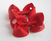 Hair Bows Red Pair 3 Inch Boutique Style