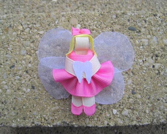 Tooth Fairy Ribbon Sculpture Hair Bow, Clip, Pin, or Ornament
