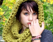 Cowl neck hood scarf Lotus eternity circle chartreuse green