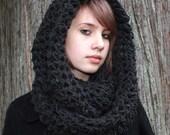 The Favorite Cowl Hood scarf shawl warmer charcoal Black