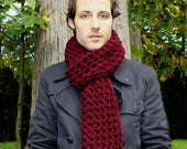 The Favorite Mens Cowl neck Scarf Cranberry Red warmer