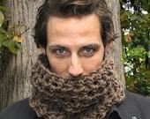 The Mowl Mens Cowl neck scarf warmer scarflette bark Brown