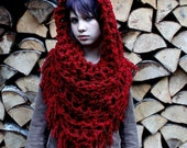 The Fringe Cowl neck scarf Vegan Red Ridding hood shawl