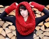 SET Chunky cowl neck shawl scarf fingerless gloves Vegan brown red ridding hood