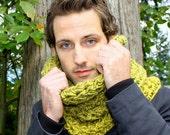 The Chunky Mens Cowl neck hood scarf Boyfriend warmer olive green