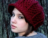 Cloche Adult Newsboy Hat Cranberry Ruby Red
