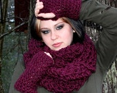 The Favorite Cowl neck hood scarf warmer Eggplant Purple
