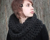 The Favorite Cowl scarf Hood Warmer Charcoal Black