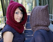 The Fishermans Hood cowl Womens winter scarf mens Cranberry ruby red