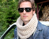 The Light House Keeper cowl Mens nautical winter scarf natural oat bone white