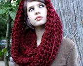 The Favorite Wool Cowl neck Hood scarf cranberry ruby red