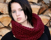 The Light House Keeper cowl Mens womens nautical winter scarf Cranberry Ruby Red