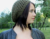 Favorite slouch hat chunky winter beret  WOOL Dark Olive Green
