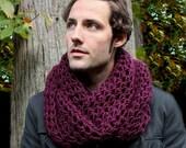 The Favorite Mens Cowl neck Scarf Wool Eggplant Purple warmer