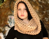 The Favorite Cowl neck Hood scarf wool Hemp brown warmer