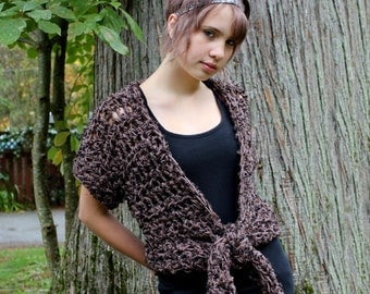 cadigan sweater shrug vest espresso brown black
