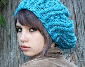 Oversized Beret slouch Boho Hat turquoise aqua blue