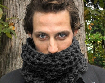 Mens Cowl neck scarf warmer scarflette charcoal Black