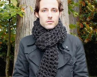 Mens Cowl neck Scarf hood charcoal black warmer