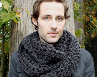 Mens Cowl neck Scarf hood charcoal black warmer