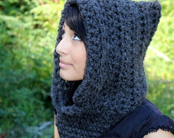 The Fishermans Hood cowl Womens winter scarf mens Charcoal Black