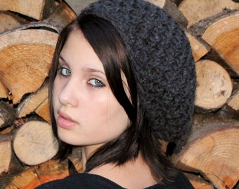 Favorite slouch hat chunky winter beret charcoal black