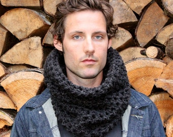 The Light House Keeper cowl Mens nautical winter scarf Charcoal Black
