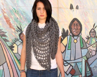My Love chunky lace cowl scarf open end Boho Vegan slate grey