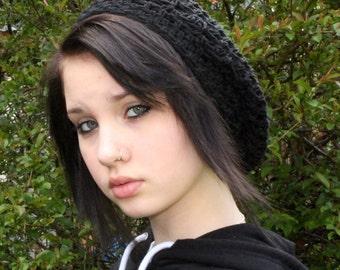 The Lace Slouch boho beret vegan Mori Girl Hat Midnight Black