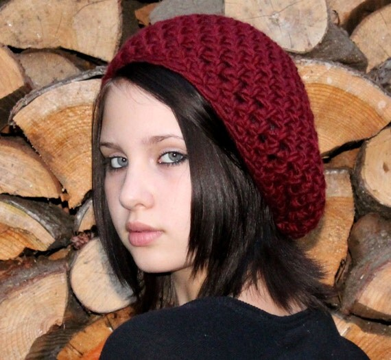 Favorite slouch hat chunky winter beret cranberry ruby red
