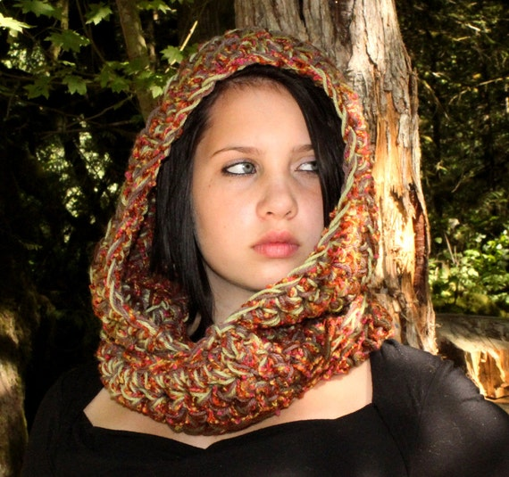 Reserved jenjitterbug Hood scarf cowl eternity sage brown taupe dragon with gloves