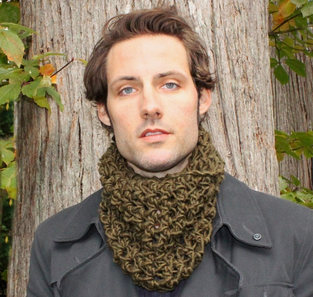Mens Cowl scarf scarflette neck warmer olive green by BessetteArt Cowl Neck Scarves Men