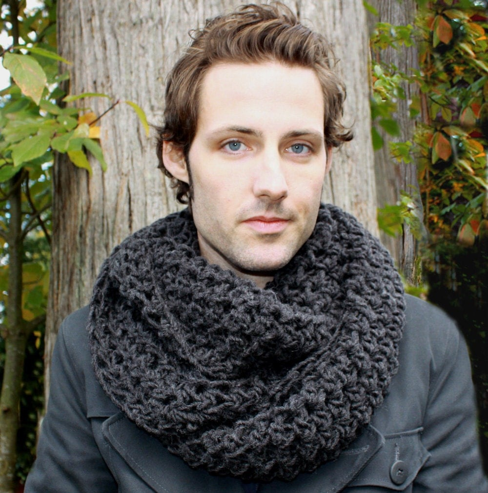 Mens Cowl neck Scarf hood charcoal black warmer by BessetteArt Cowl Neck Scarves Men