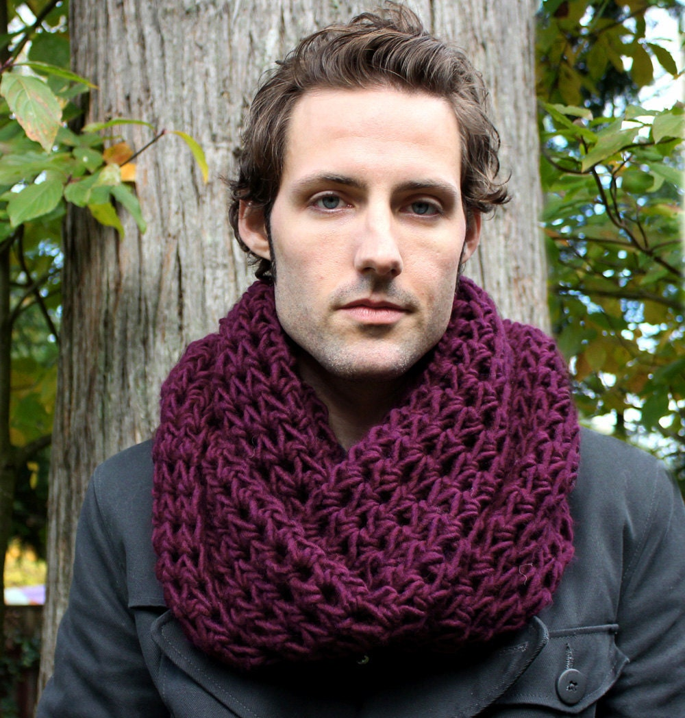 The Favorite Mens Cowl neck Scarf Wool Eggplant by BessetteArt Cowl Neck Scarves Men