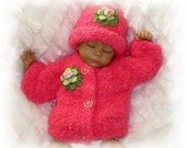 Creme Brulee Winter Softness-Fleece Sweater and Hat -Available in 5 sizes- Hot Pink!