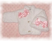 Creme Brulee Soft Fleece Chenille Sweater & Hat -5 Infant Sizes including Preemie