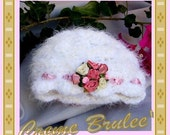 Creme Brulee Shabby Chic for Baby Girl-ELEGANT-Fuzzy white hand crocheted luxury with satin roses-5 sizes