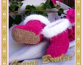 Creme Brulee Cute as a Button HUGGS Bootie 3 Sizes - Baby Bootie AVAILABLE in 4 COLORS for Boys Too