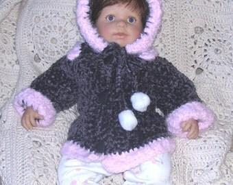 Creme Brulee - Plush Velvet Coat N Bonnet for Our CCCCold Winter -Infant 3-6M