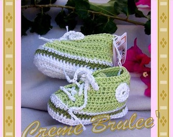 High Top Tennie Bootie - Spring Green - infant size 1-2 or 3. Baby Bootie.
