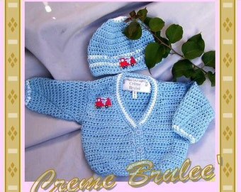 Creme Brulee' Baby Boy Sweater and Hat Set -Future Firefighter -Four Infant Sizes.