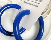 Blue Hoops   Blue Hoop Earrings   sapphire blue vintage lucite hoop earrings