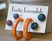 Atlantic Blue Peach and Grey Earring Set - Lucite Post Earrings - Color Story Dotties and Hoops