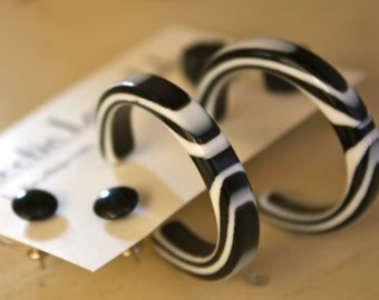 Hollywood in Black and White Earring Set - Lucite Post Earrings - Color Story Dotties and Hoops