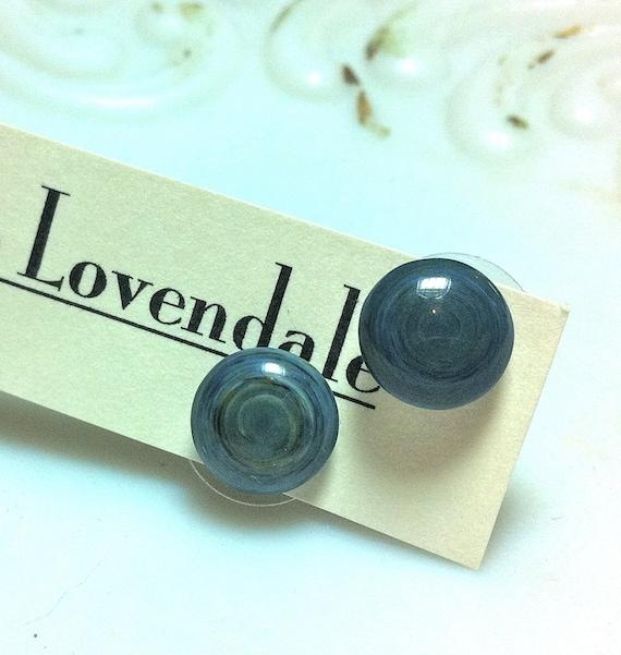 Ocean Blue Marbled Disc Dotties - lucite post earrings