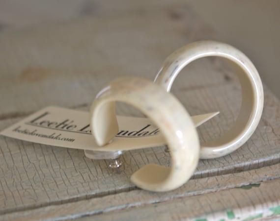 Marbled Cream Hoops - lucite hoop earrings