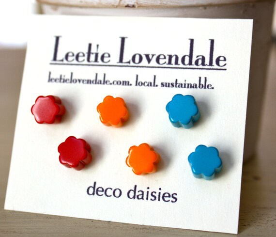 Deco Daisies Earring Set - Lucite Post Earrings - A Color Theory Story
